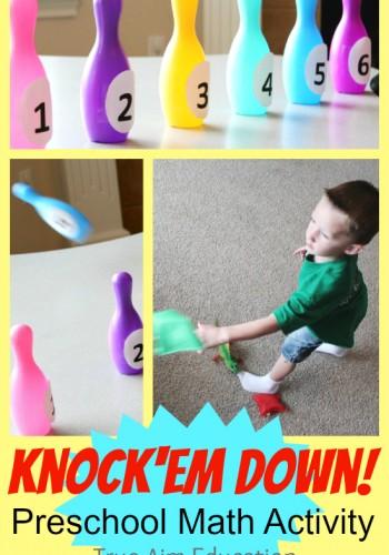 Preschool Math: Knock'em Down Bean Bag Toss