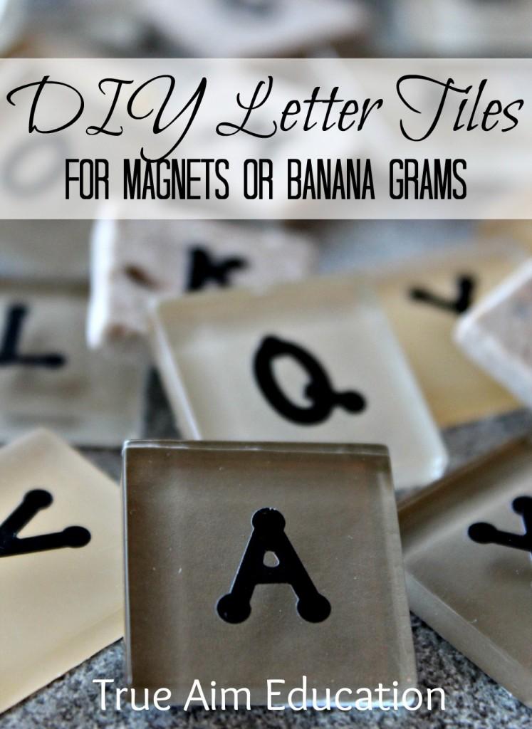diy bananagrams, letter tiles