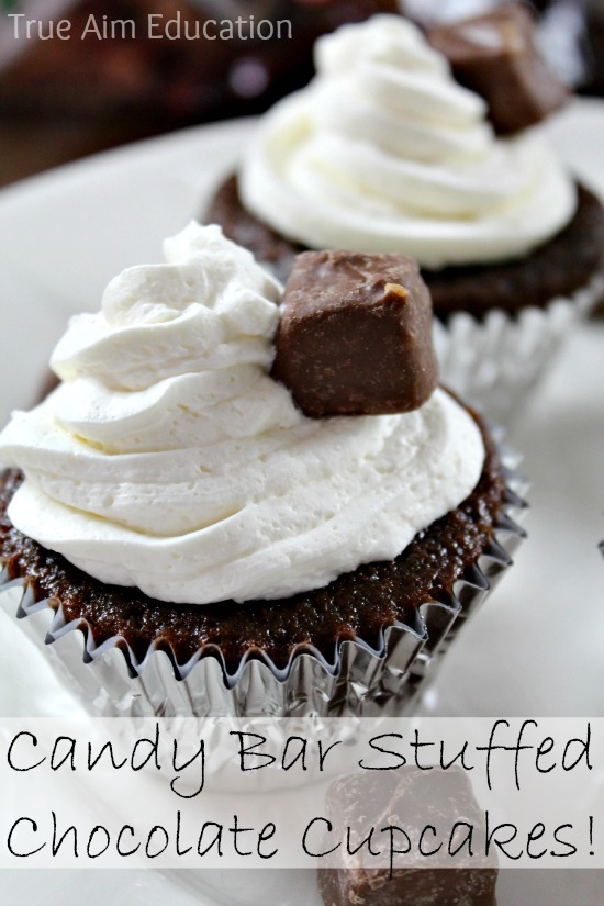 Snickers Stuffed Chocolate Cupcakes #shop