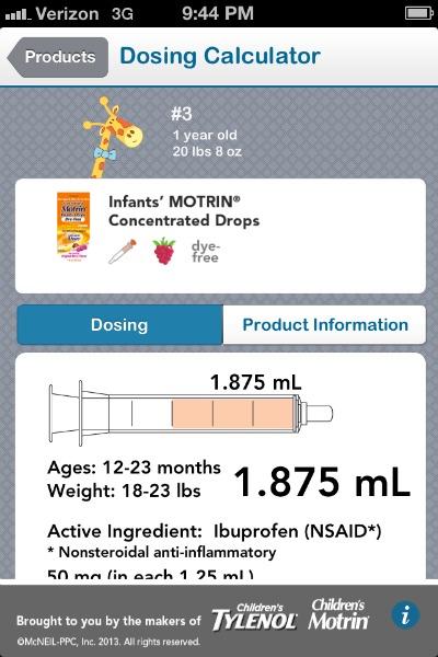 infant motrin dosage