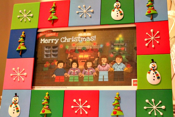 lego minifigure family holiday greeting card