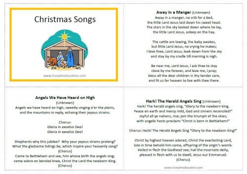 classic christmas songs for kids free printable - Christmas Songs For Kids