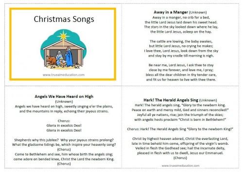 classic christmas songs for kids free printable