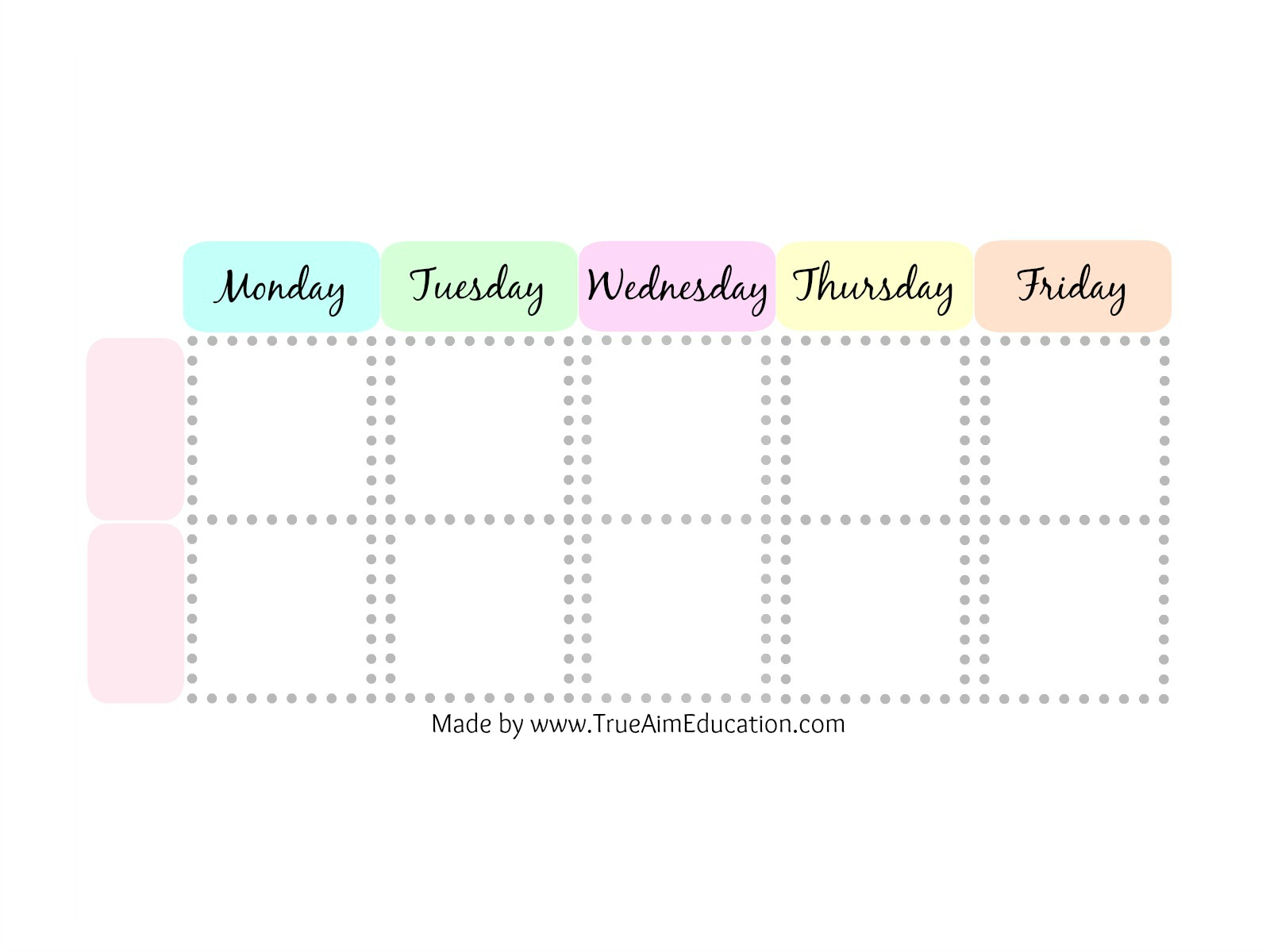 Free Weekly Planner Printable True Aim