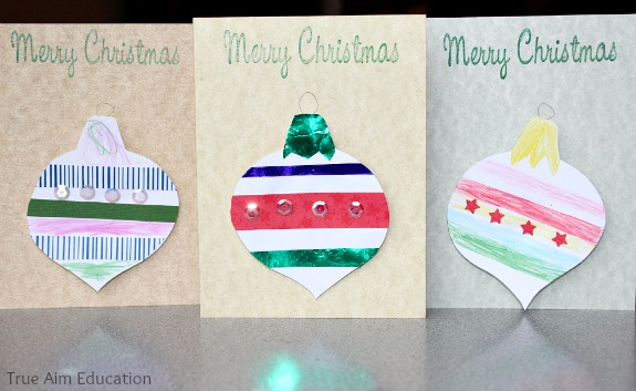 christmas craft for kids, handmade Christmas Ornament Cards