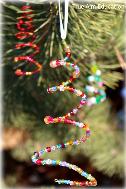 Homemade beaded christmas tree ornaments for kids true aim for Home made christmas tree decorations