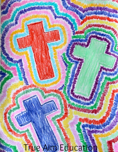 crayon cross art