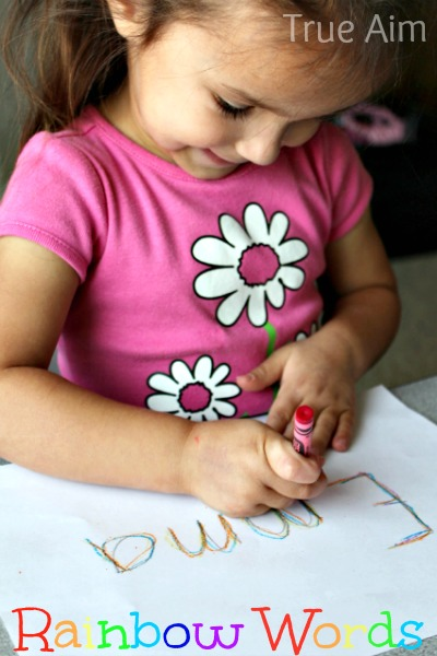 rainbow words writing and spelling activity