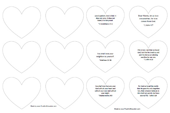 Heart Bible Craft And Bible Love Verses Free Printable True Aim