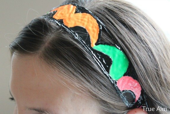diy neon headband paisley