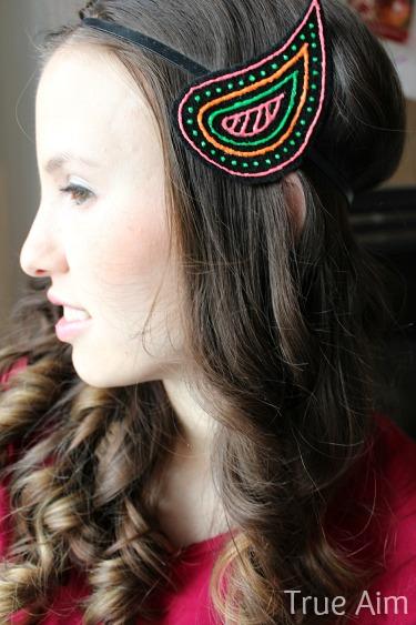 diy paisley neon headband