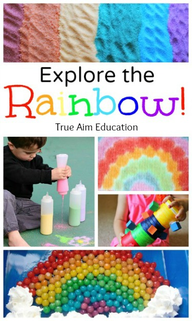 Rainbow Activities for kids including edible rainbow sensory bin, DIY toy, crafts and more!