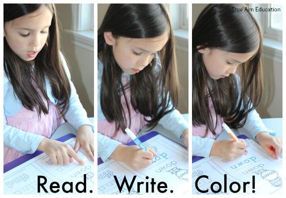 read write color printables