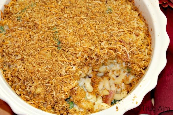 Macaroni Casserole with #freshtake crispy bacon topping #shop