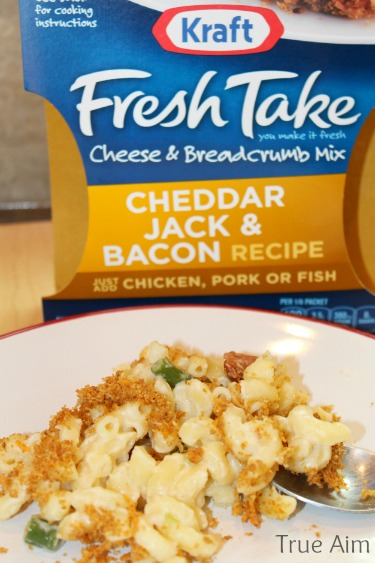 baked macaroni and cheese with #freshtake topping #shop