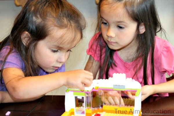 building with lego friends