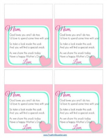 photograph regarding Printable Mothers Day Poems named Absolutely free Moms Working day Snack Tag Printable Correct Target