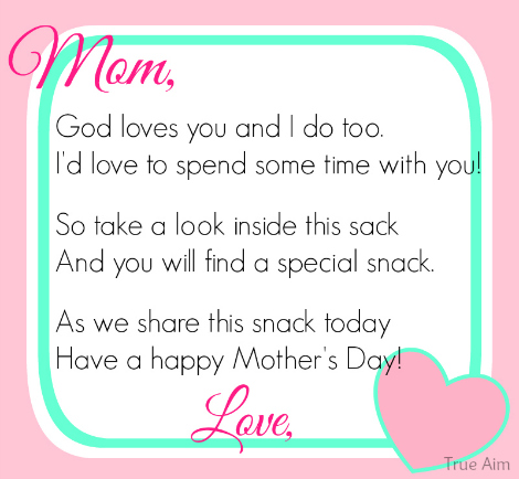 photograph about Printable Mothers Day Poems named Free of charge Moms Working day Snack Tag Printable Accurate Focus