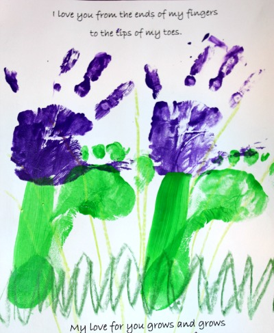 Mother's Day hand and foot print card paint