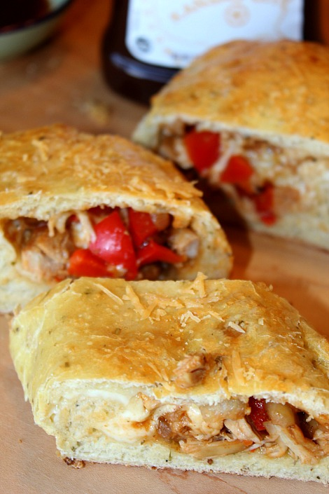 bbq chicken stromboli with bell peppers