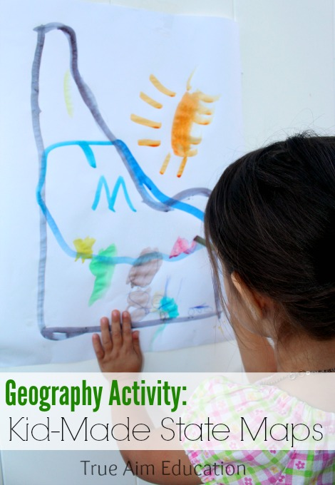 kid-made state maps usa geography activity