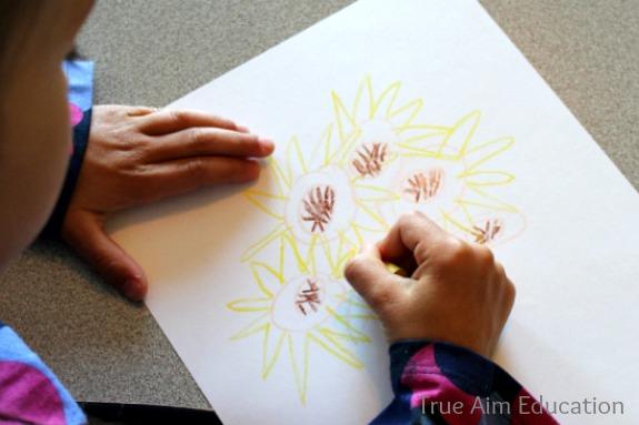 lesson art sunflower project