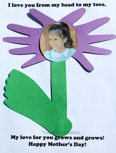 mother's day hand and foot print card