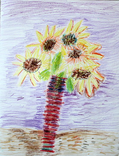sunflower crayon van gogh