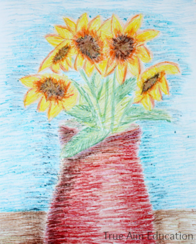 van gogh sunflower for kids crayons