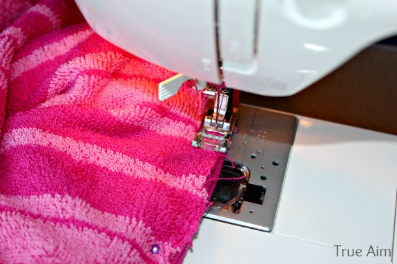 sewing a hooded towel
