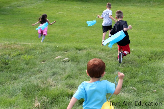 playing with windsock kites