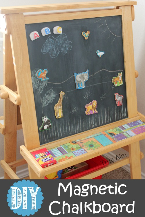 diy magnetic chalk board frame it or put it on an easel