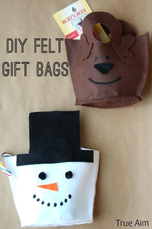 diy felt snowman gift bags