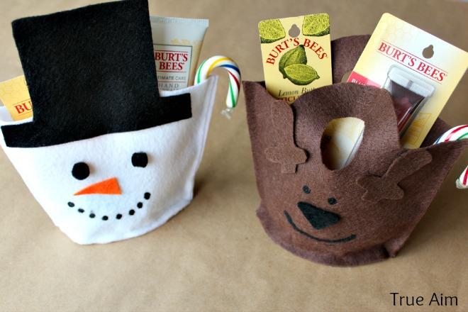 snowman reindeer felt gift bags