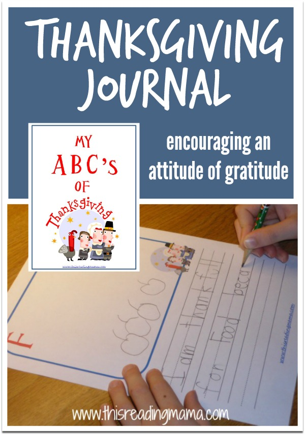 Free printable ABC's of Thanksgiving Journal to encourage gratitude in kids