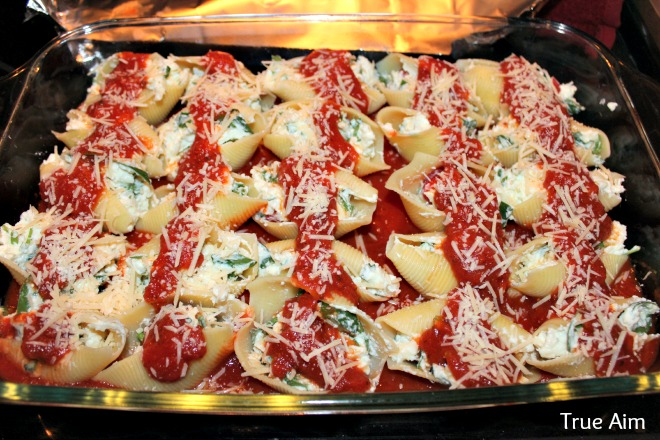 easy freezer meal idea, stuffed pasta shells with basil
