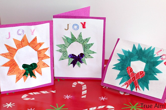 handmade christmas wreath cards kids