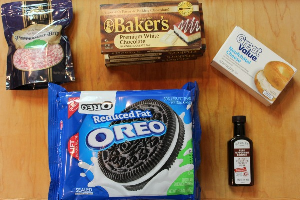 ingredients for peppermint oreo cookie balls