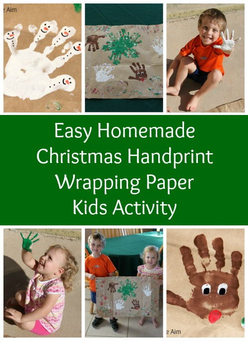 Easy Homemade Christmas Handprint Wrapping Paper Kids Activity - Make inexpensive wrapping paper for grandparents and aunts and uncles using recycled brown paper bags and paint!
