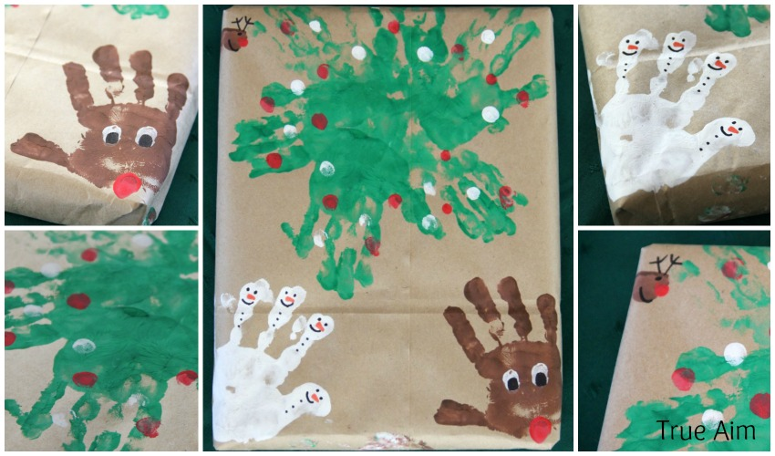 Homemade Christmas Handprint Art Wrapping Paper