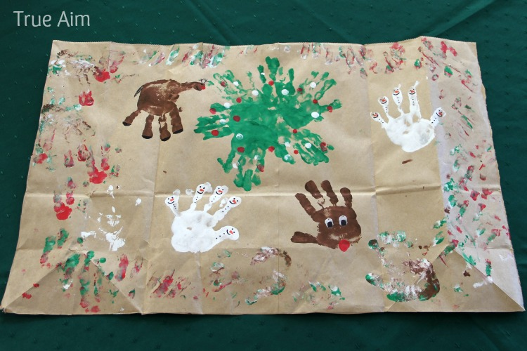 Homemade Christmas Handprint Wrapping Paper