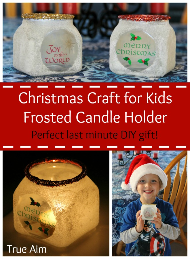 Christmas Craft for Kids: Frosted Candle Holders. Your kids can make these candle holders to give away as gifts using glue and salt!
