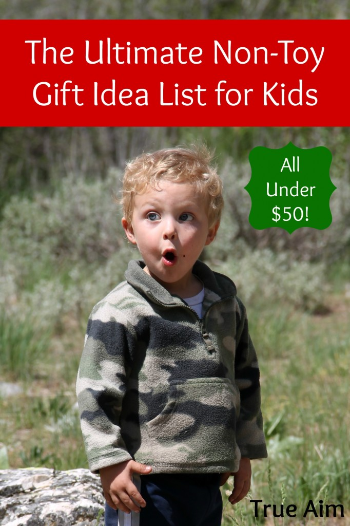 The Ultimate Non-Toy Gift Idea List for Kids - All Under $50! These ideas will keep Christmas clutter-free and help keep your family focused on the true reason for the season!