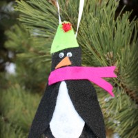 Felt Penguin Footprint Ornament