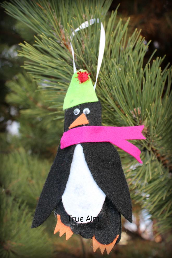 footprint penguin ornament