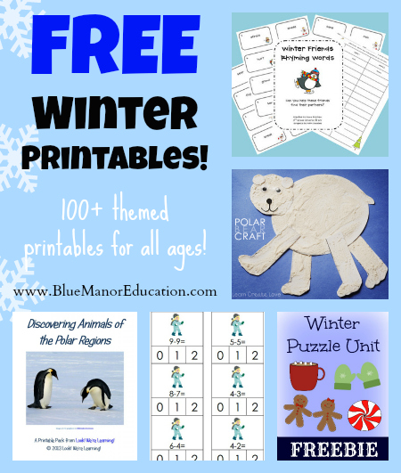 free homeschool printables winter themed