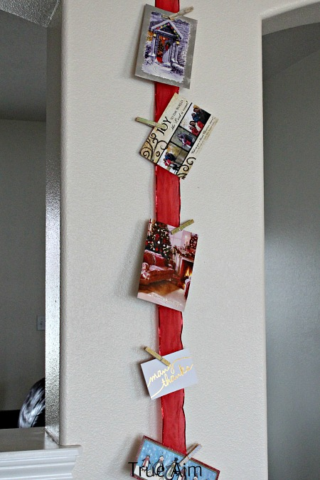 holiday card ribbon holder clothes pins