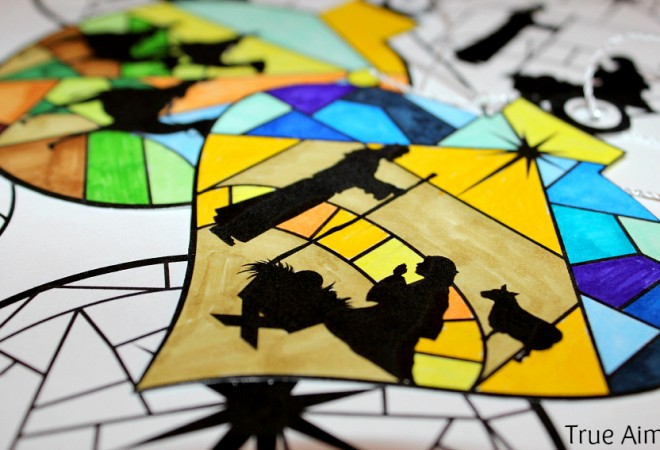Stained Glass Nativity Ornaments Printable