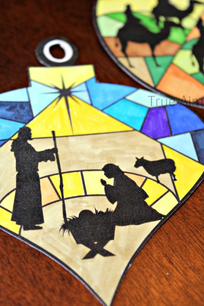 stained glass nativity ornament