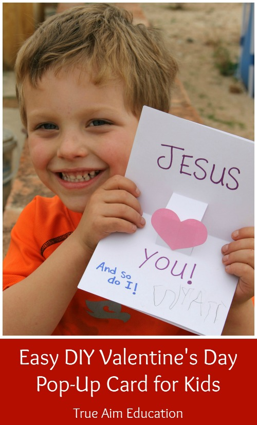Easy DIY Valentine's Day Pop-Up Card for Kids - Make this pop-up card with your kids and help spread God's love this Valentine's Day!